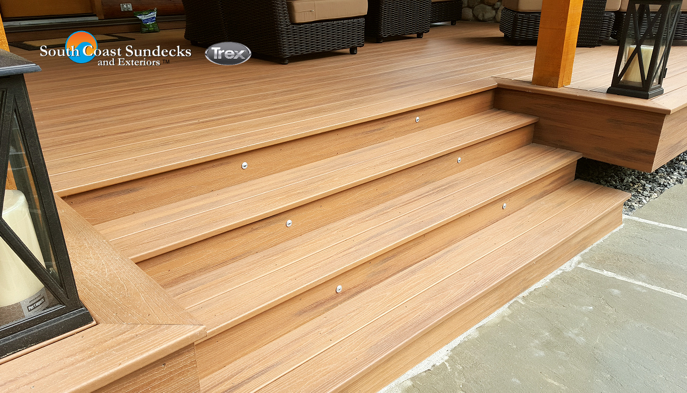 Featured outdoor living space trex composite deck for Timber deck construction