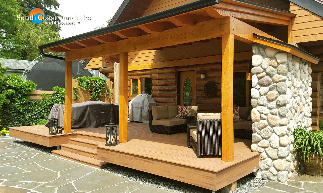 Featured Outdoor Living Space Trex Composite Deck Construction Timber Fra