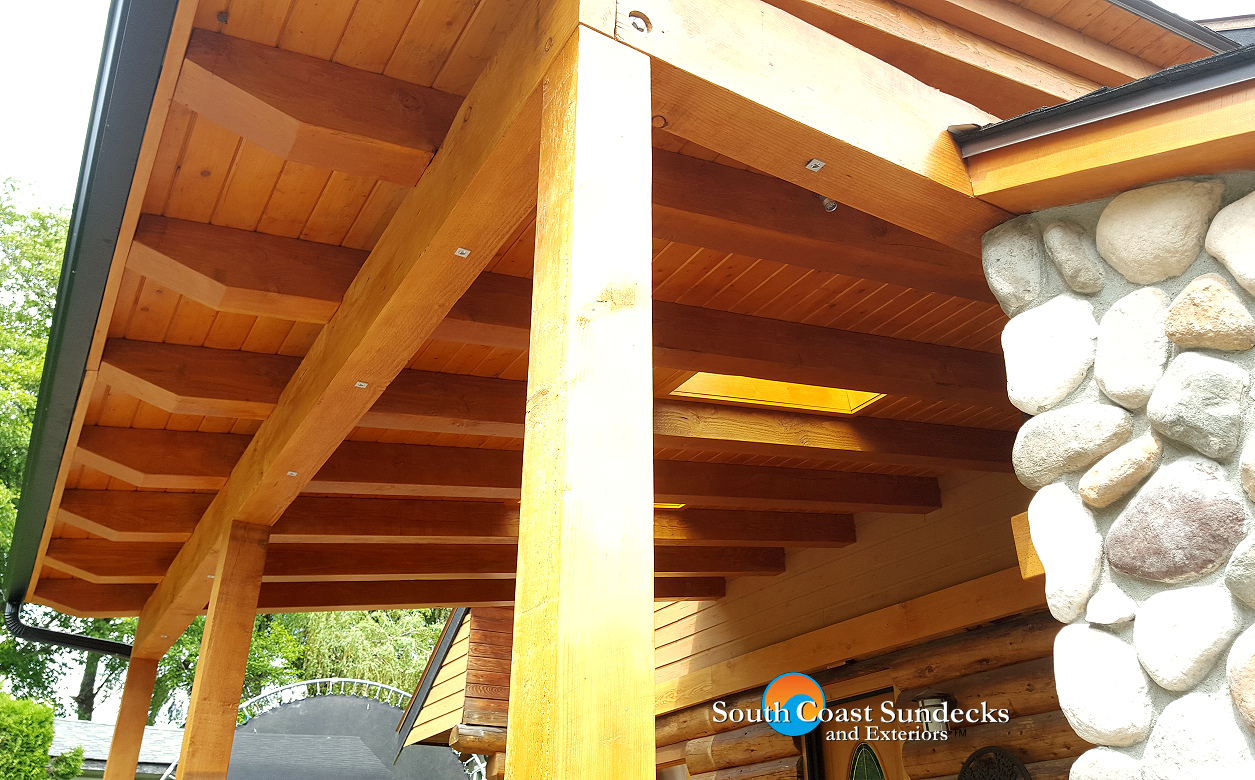 Featured outdoor living space trex composite deck for Wood deck cover plans