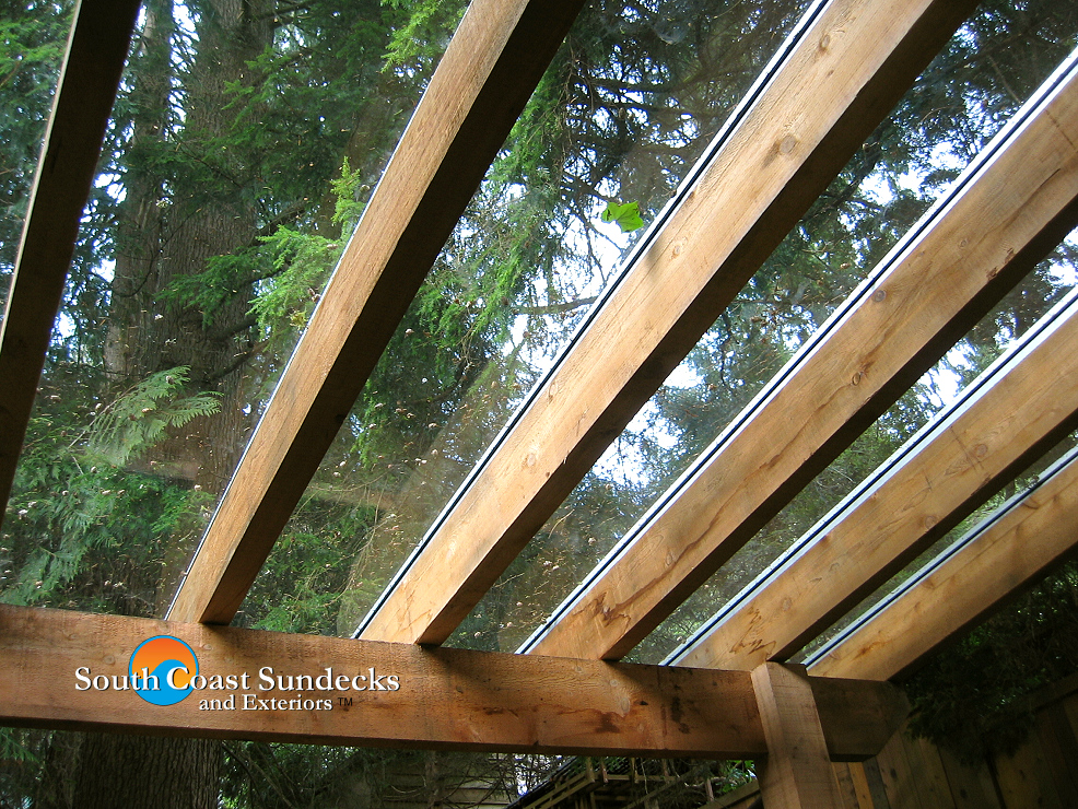wood rafter and glass canopy sundeck cover pictures